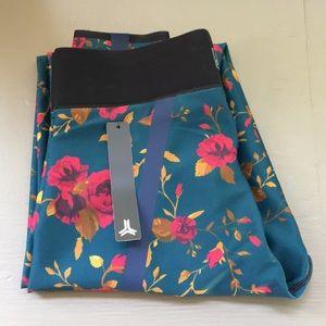 Ultracor Pants - Ultracor Silk Bloom Print Leggings in Teal/Pink